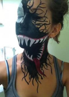 Halloween makeup idea - not Sharknado but Venom from Spiderman