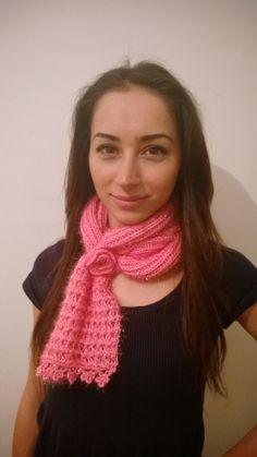 Pink Shiny Knitted Scarf Cute Scarves Women's by HandicraftByDamla, $51.00