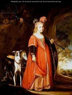 Portrait of a young girl as Diana in a glade with two greyhounds