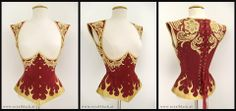 """""""Phoenix"""": A corset-top made from deep red satin, embellished with synthetic leather cutwork, lace appliqué and golden Swarovski crystals. Royal Black.  The design for this commission was provided by my lovely client Aurelia Isabella - Model and Artist and it was a pleasure to turn her sketch into reality"""