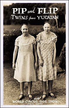at the museum of Elysée they suggested that this image was the inspiration for all twin images to come... Especially Arbus twins...     from the Freaks backstage pictures    Pip & Flip Pinhead Coney Island Sideshow Freak