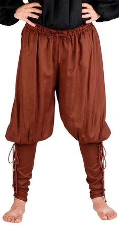 Medieval Poet's Renaissance Pirate Captain Cottuy Pants Costume [Chocolate] (Large)