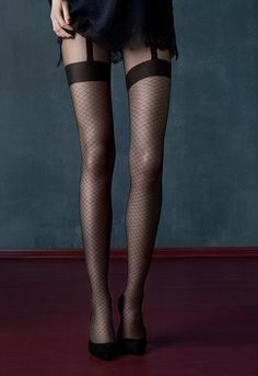 Fiore Tights Patterned Charleston 20 Denier Hold-Up Imitation Pattern Cute Stockings, Stockings And Suspenders, Stockings Lingerie, Black Stockings, Women With Beautiful Legs, Suspender Tights, Over Knee Socks, Pantyhose Outfits, Jolie Lingerie