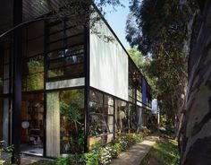The exterior of the Eames House in Pacific Palisades, California.   Courtesy of: Photograph by Timothy Street-Porter, © 2014 Eames Office, LLC (eamesoffice.com)