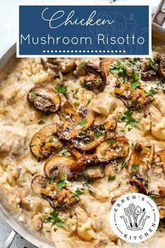 Chicken Mushroom Risotto Recipe, Mushroom Dish, Mushroom Chicken, Mushroom Recipes, Chicken Curry, Keto Chicken, Risotto Dishes, Risotto Recipes, Kitchen Recipes