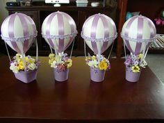 Four Lavender Hot Air Balloons