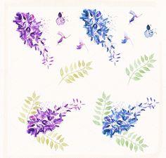 Watercolor Flowers Wisteria by Spasibenko Art on @creativemarket