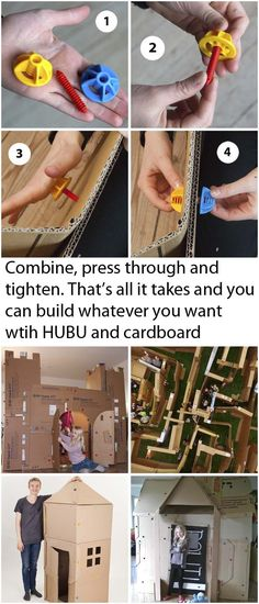 Easy construction with cardboard using HUBU system. DIY playhouse building has never been easier. Make a cardboard city, a giant labyrinth or a castle. Cardboard City, Build A Playhouse, Friday Nights, Play Houses, Daddy, Construction, Canning, Building, Creative