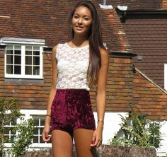 Wine red crushed velvet high waisted shorts vintage shorts £25.00