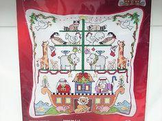 Noahs-Ark-Cross-Stitch-Kit-For-Pillow-Or-Picture-Nursery-Kooler-Aida-Sealed