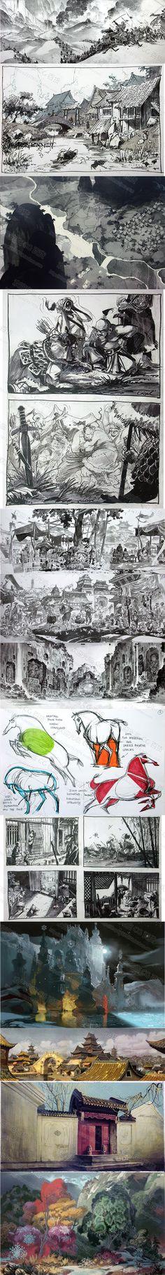动画电影【花木兰】场景 人物 手稿 线稿 原画设定集 概念图集-淘宝网