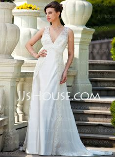 Wedding Dresses - $172.99 - A-Line/Princess V-neck Court Train Chiffon Charmeuse Wedding Dress With Ruffle Lace Beadwork (008024572) http://jjshouse.com/A-Line-Princess-V-Neck-Court-Train-Chiffon-Charmeuse-Wedding-Dress-With-Ruffle-Lace-Beadwork-008024572-g24572