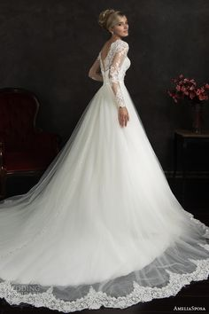 amelia sposa 2015 bridal nubia long sleeve ball gown wedding dress side view train