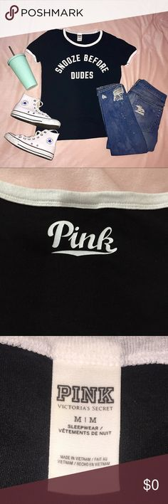 🌈 Victoria's Secret PINK Snooze Before Dudes Tee Victoria's Secret PINK black graphic 'Snooze Before Dudes' sleepwear tee! Size Medium. Super soft and super cute! Gently worn. No stains, holes, signs of wear, etc! PINK Victoria's Secret Tops Tees - Short Sleeve