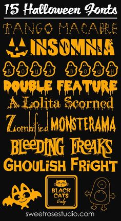 These Halloween fonts are great for making party place-cards, gift tags, decorative signs, banners, you name it! Free Fonts for Halloween Free Fonts For HalloweenFree Dingbats For Fa. Halloween Fonts, Halloween Cards, Holidays Halloween, Diy Halloween, Halloween Poster, Fancy Fonts, Cool Fonts, Alphabet, Cricut Fonts