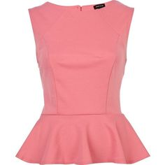 River Island Pink Peplum Top ❤ liked on Polyvore