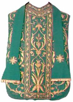 Knock Folk Museum, County Mayo. Religious ceremonial clothing/vestments. Green Chasuble and Stole with gold decorative embroidery.