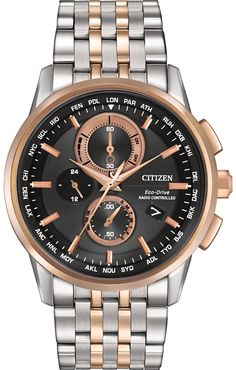 Citizen Eco-Drive Men's World Chronograph A-T Watch. This Eco-Drive watch is powered by light, and features atomic timekeeping in 26 time zones, displayed as cities with radio control. Features a 43mm
