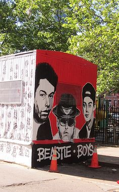 A new Beastie Boys mural by Danielle Mastrion in the East Village, NYC.