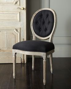 """Kitchen chair redo. Black Linen, washed """"wood"""" look.  Horchow for Bergdorf's"""
