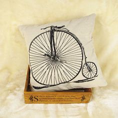 Decorative Pillow Cover Linen Cool Perfect Bicycle printed Pillow Case Square #New