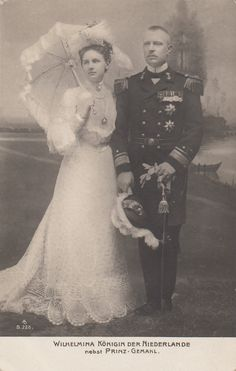 Engagement image of Queen Wilhelmina of Netherlands with prince Heinrich of Mecklenburg- Schwerin.