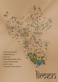 a town map for a D&D Homebrew campaign set in the desert! Fantasy City Map, Fantasy World Map, Desert Map, Desert Life, Village Map, Dnd Dragons, Dungeon Maps, Dungeons And Dragons Homebrew, Mythological Creatures
