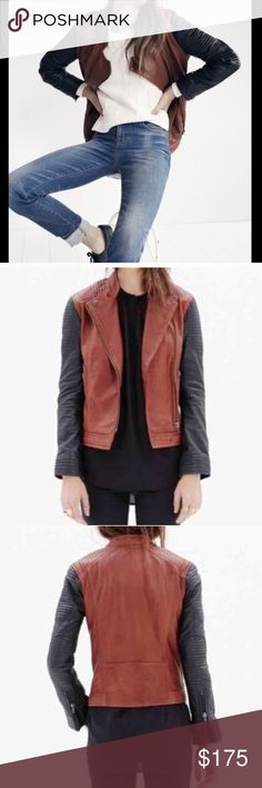 Madewell leather backroad jacket Brown and black asymmetrical zip 100% leather jacket by madewell. Quilted accents and zippers at the sleeves. Excellent condition Madewell Jackets & Coats
