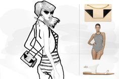 I've drawn some of my most coveted beach styles from S/S 2014 for you. - Ricarda Schernus #catsanddogs