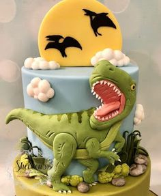 T-Rex Dinosaur Cake - .- T-Rex-Dinosaurier-Kuchen – T-Rex Dinosaur Cake - Dinasour Birthday Cake, Dinasour Cake, Dinosaur Birthday Party, Cake Birthday, Birthday Cake Kids Boys, Elmo Party, Mickey Party, Disney Birthday, 21st Birthday