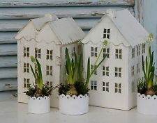 Kerzenhäuser Häuser Haus Kerzenhaus Metall Windlicht shabby chic antique weiß