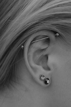 Industrial ear piercing, i had one & loved it. but mine didn't heal properly.. & got caught alot. was my fav piercing.