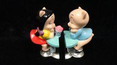 Vintage Ceramic Porky Pig and Penelope Salt and by tennesseehills, $8.00