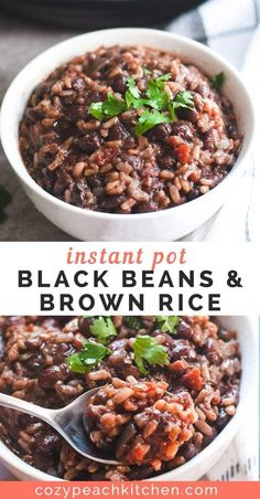 Make these black beans and brown rice in your Instant Pot in under an hour. This healthy recipe is great for meal prep or a last minute dinner. And its vegan! #instantpot #instapot #vegan #vegetarian #riceandbeans #mealprep #blackbeans #healthy