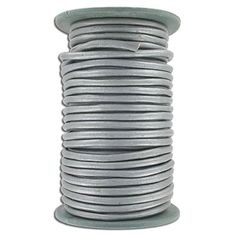 (SKU# Sold per pack of 1 spool(s). Leather Cord, Metallic, Chain, Grey, Gray, Necklaces