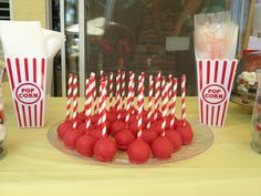Candy apple cake pops for a circus themed party