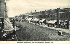 Blackwell Oklahoma OK 1908 Town Main Street South Antique Vintage Postcard Blackwell Oklahoma OK Circa 1908 downtown on Main Street South from Oklahoma Avenue. Used American News Company antique vinta