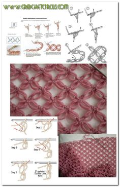 How to make the Punto Salomon, Solomon Stitch or Love Knot Crochet Diy, Crochet Motifs, Crochet Diagram, Crochet Stitches Patterns, Crochet Chart, Love Crochet, Stitch Patterns, Knitting Patterns, Crochet Gratis
