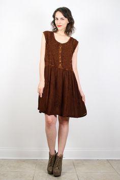 Vintage 90s Dress Babydoll Dress Chocolate by ShopTwitchVintage