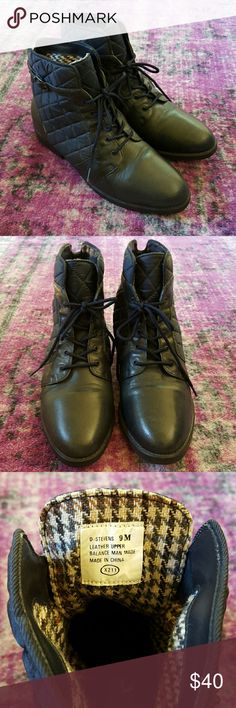 Vintage Danexx Navy Leather Boots Vintage Danexx navy quilted boots with leather upper and warm flannel interior. Great vintage condition. I love them but they are too snug! They do run true to size 9 but are made for a narrower foot. Danexx Shoes Ankle Boots & Booties
