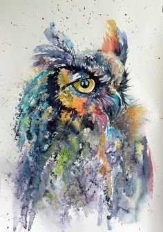 ARTFINDER: Great horned owl III. by Kovács Anna Brigitta - Original watercolour painting on high quality Hahnemühle watercolour paper. I love landscapes, still life, nature and wildlife, lights and shadows, colorful ...