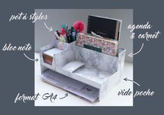 DIY: a desk organizer adapted to your needs Stationary Organization, Desk Organization Diy, Diy Desk, Diy Organizer, Organiser, Diy Deco Rangement, Diy Bureau, Handmade Stationary, Cardboard Crafts