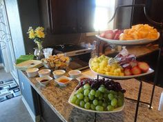 Bagel bar with cream cheeses and jams and fresh fruit
