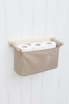 Wall hanging organizer - with 1 bin - beige colour linen cotton and embroidered dandelion in the right corner
