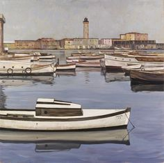 Leopold Hauer (Austrian, Weiße Boote [White Boats], Oil on canvas on plywood, 100 x cm. Paintings I Love, Love Art, Color Combos, Oil On Canvas, Museum, 1984, Urban, Landscape, Exhibitions