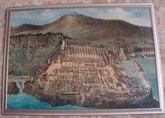 Copie d'un tableau accrochée au murs du cloitre roman du monastère franciscain de Dubrovnik en Croatie représentant Dubrovnik avant le tremblement de terre de 1667.