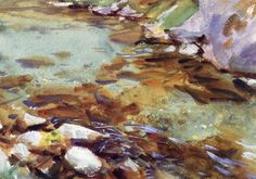John Singer Sargent, Stream with Rocks, watercolor, gouache with pencil on paper, c.1907 Sargent's Watercolor Rocks & More | Paint Watercolor Create  http://paintwatercolorcreate.blogspot.com/2014/06/sargents-watercolor-rocks-more.html