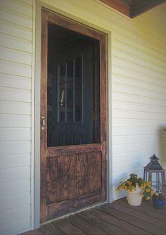 How to Build a Sturdy Wood Screen Door DIY – farmhouse front door with screen Metal Screen Doors, Front Door With Screen, Diy Screen Door, Sliding Screen Doors, Wooden Screen, Front Entry, Porch Doors, Back Doors, Door Makeover