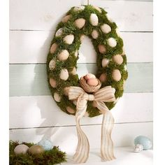 Surprise Easter Wreath The Seasonal Aisle Christmas Wreaths With Lights, Lighted Wreaths, Wooden Wreaths, Christmas Bells, Christmas Deco, Diy Ostern, Fabric Wreath, Red Ornaments, Wreath Hanger
