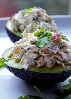 jalapeno lime chicken salad served in avocado. I might swap sour cream for the mayo, but it looks delicious either way
